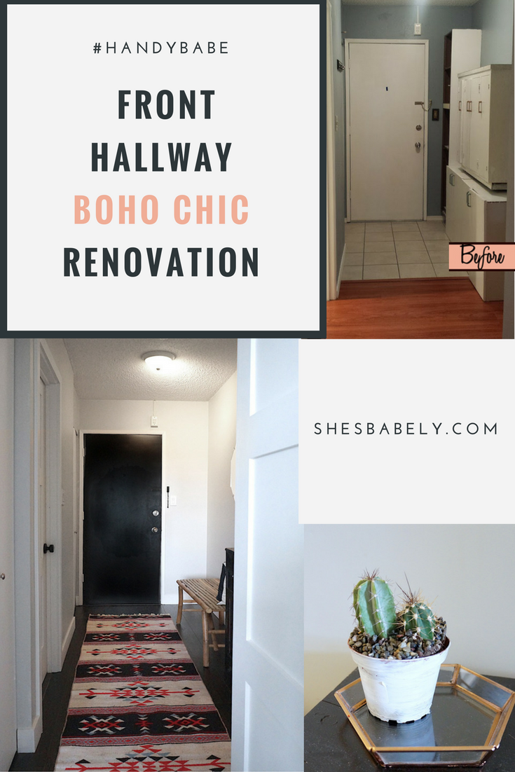 Before & After: Front Door Hallway Goes From Dark & Dingy To Light & Bright In This Boho Chic Entryway Renovation.  See  The Before & after Here. DIY Hallway Renovation Reno Entryway, Black Door | www.beautyisgf123.com